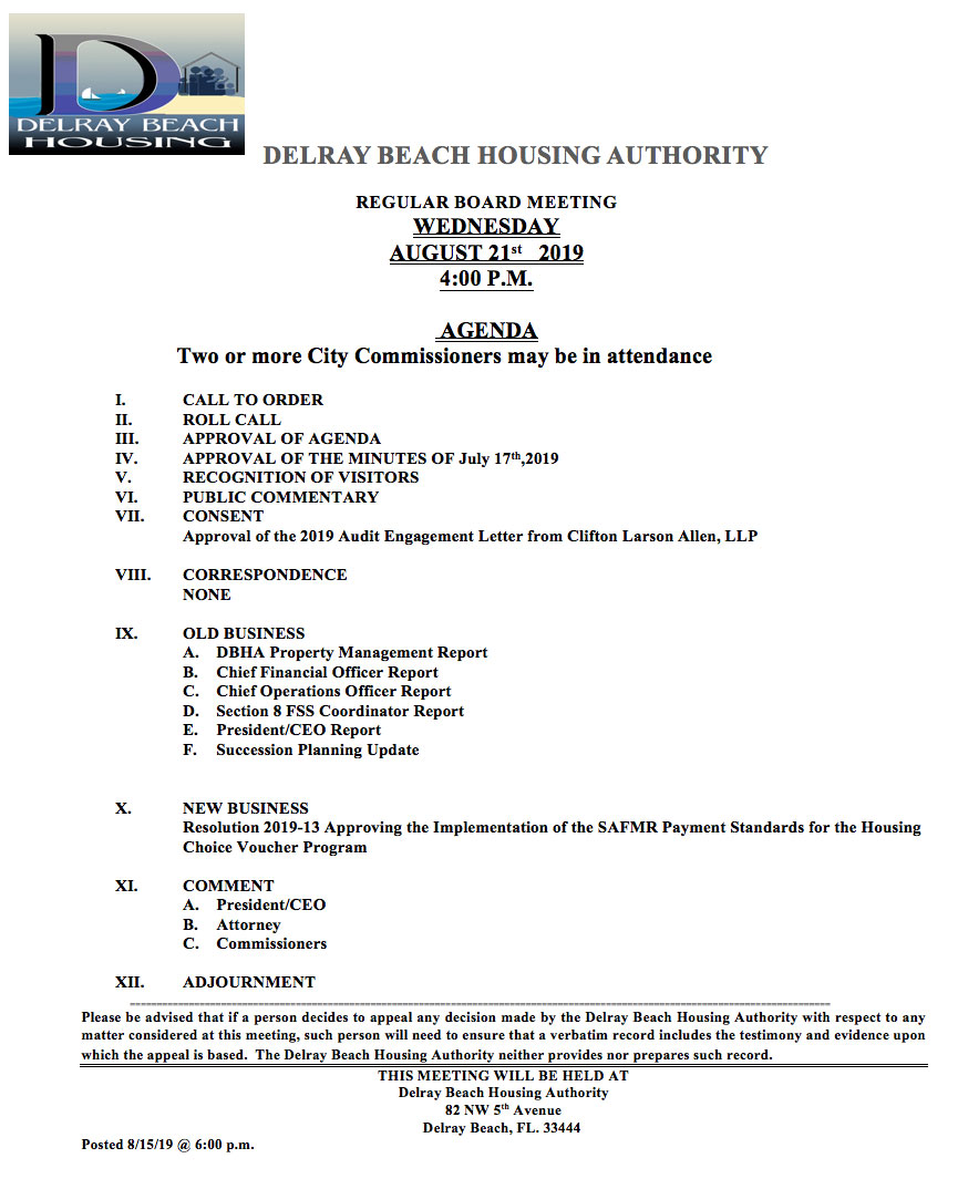 Agenda - Regular Board Meeting Aug 21st, 2019