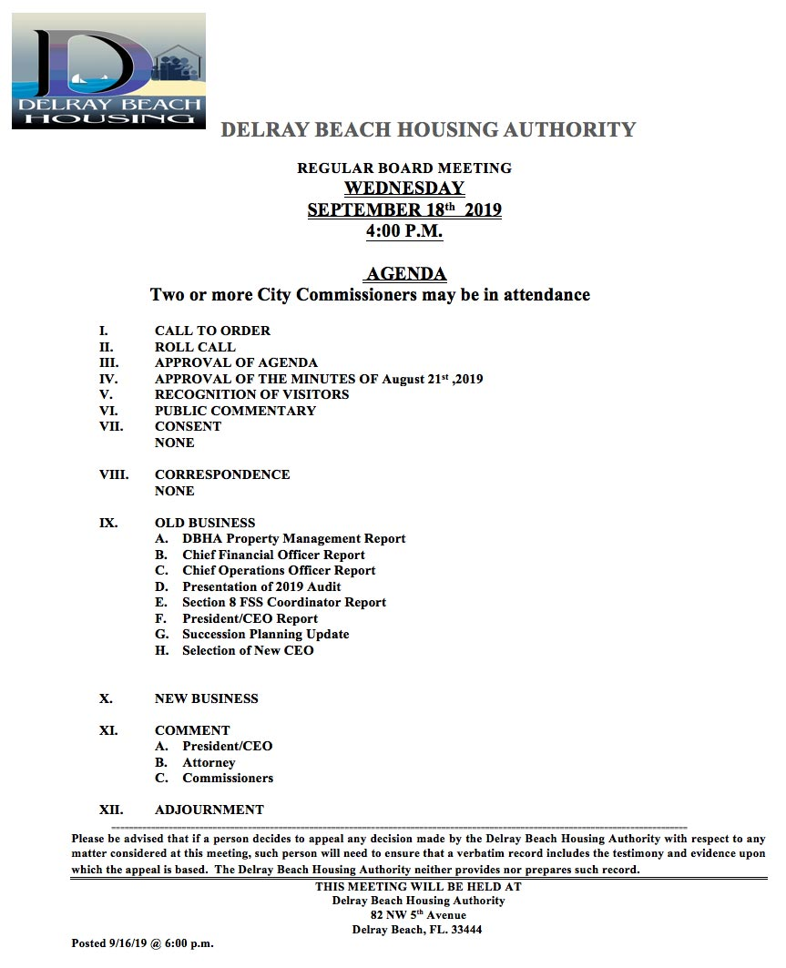 Agenda - Regular Board Meeting Sep 18th, 2019
