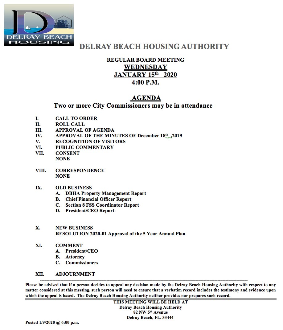 Agenda - Regular Board Meeting - Jan 15th, 2020
