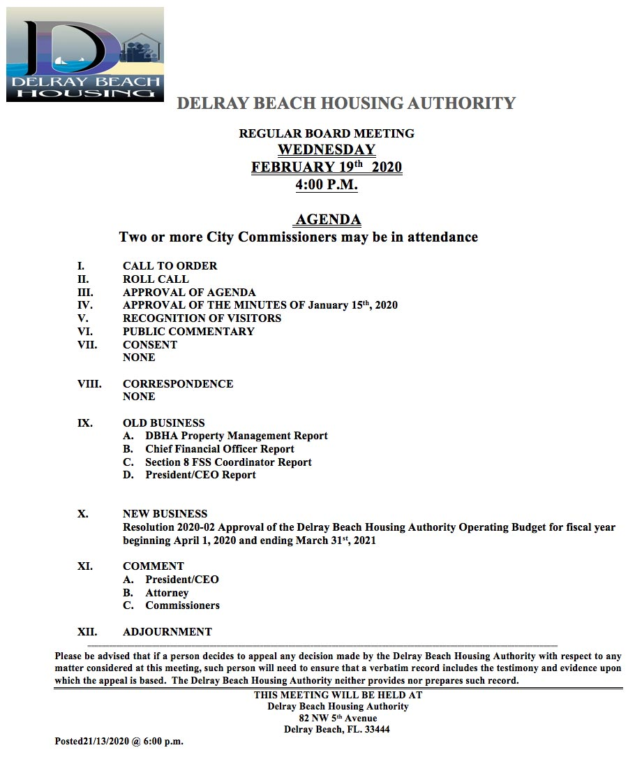 Agenda - Regular Board Meeting - Feb 19th, 2020