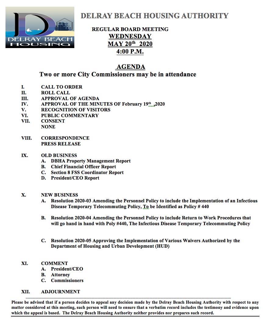 Agenda - Board Meeting - May20th, 2020