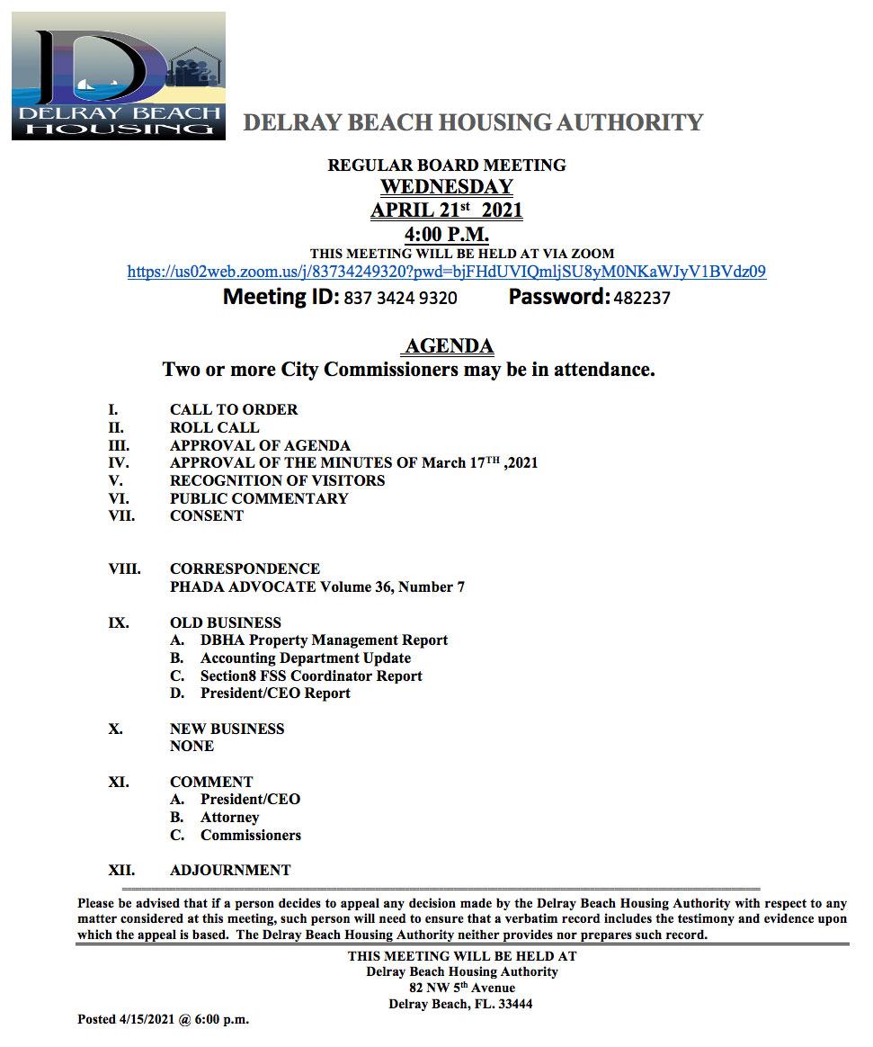 Agenda - Board Meeting - Apr 21st, 2021
