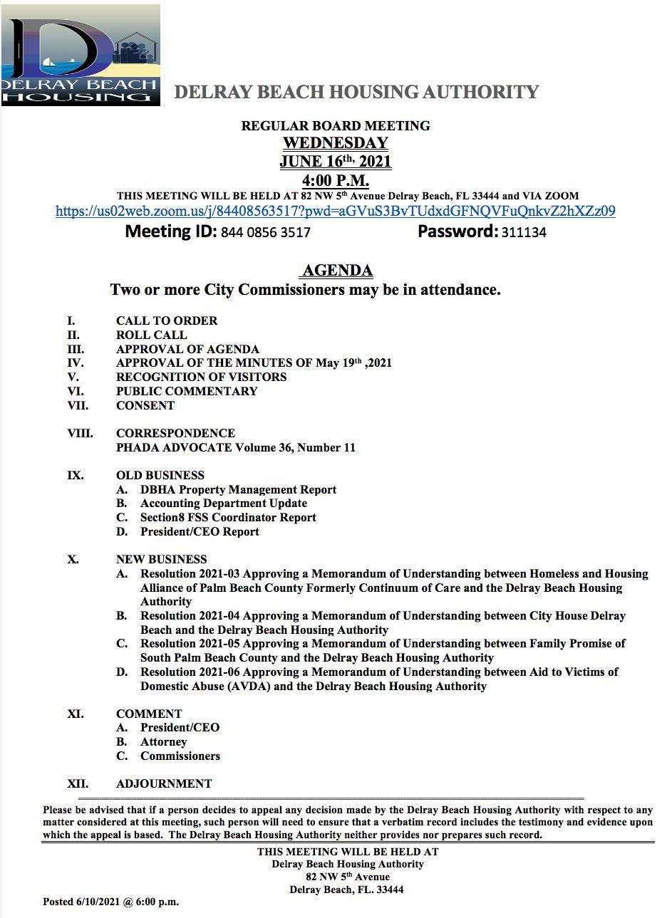 Agenda - Board Meeting - Jun 16th, 2021