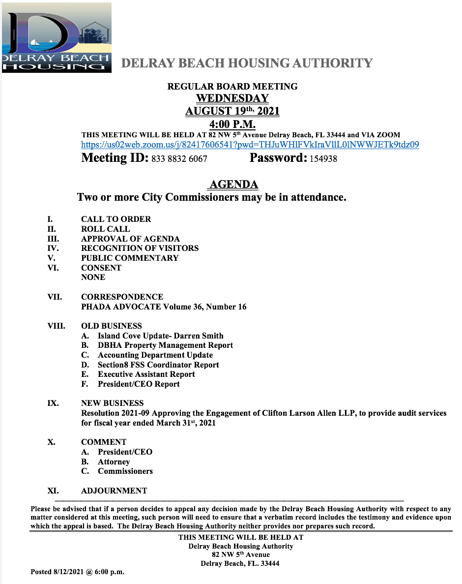Agenda - Board Meeting - Aug 19th, 2021